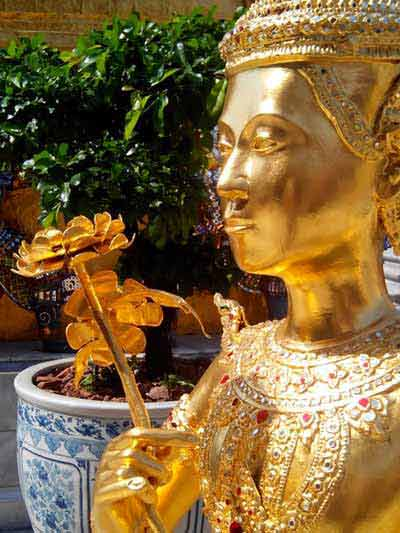 Golden statue of Kinnon – mythological creature who is half bird, half man