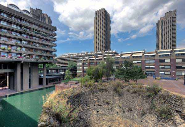 London wall at Barbican estate