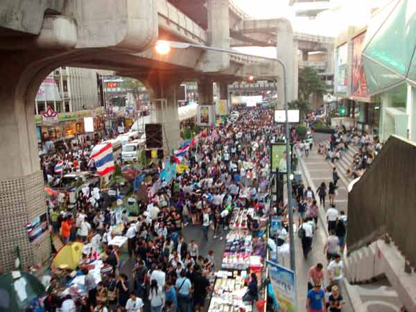 bangkok protest on the streets during bangkok shut down