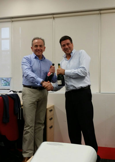 Steve Langan, Hiscox UK and Europe MD, with Anthony Hobrow