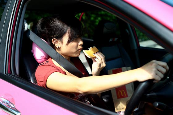 Distracted Driving While Eating
