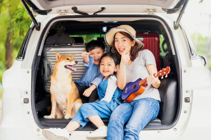 DirectAsia Insurance_Asian family sitting at the boot of their car with the mother holding a mini guitar while all are looking at one direction